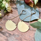handmade Brass half moon pendant earrings