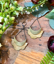 handmade Brass sunburst pendant earrings