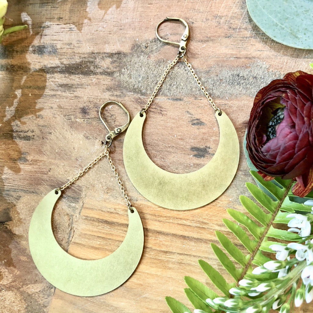 handmade Brass crescent pendant earrings