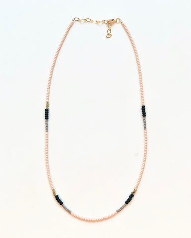 Peach & Black Full Length Beaded Necklace -JHN60