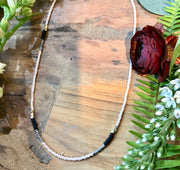 handmade Full length beaded necklace in peach and black