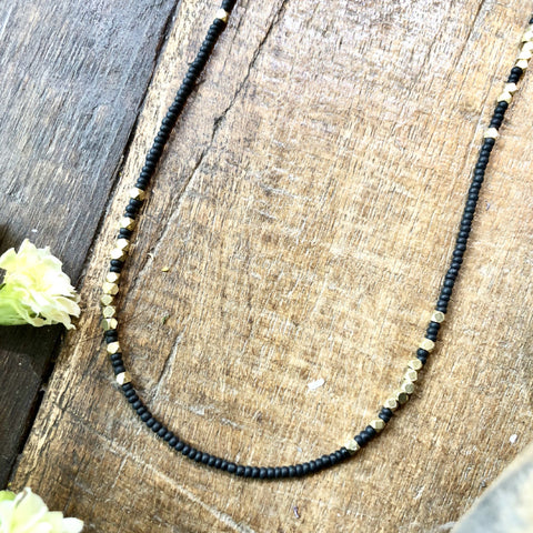 Black With Brass Full length Beaded Necklace - JHN62