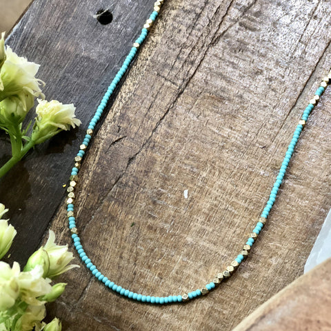 Turquoise And Brass Full Length Beaded Necklace - JHN63