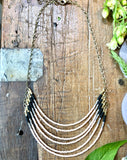 handmade Peach and black 6 layer statement necklace