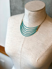 handmade Matte turquoise and brass bead 6 layer statement necklace