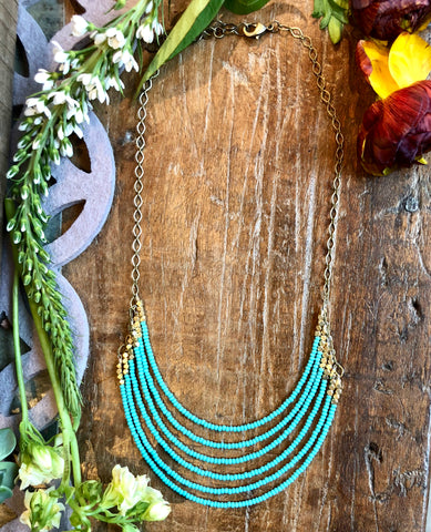 Turquoise & Brass 6 Layer Statement Necklace - JHN67