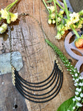handmade Matte Black beads with brass statement necklace
