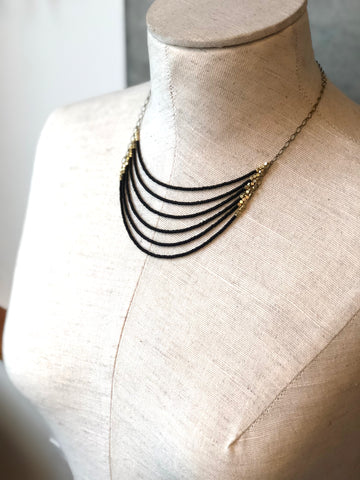 Black With Brass Statement Necklace - JHN66