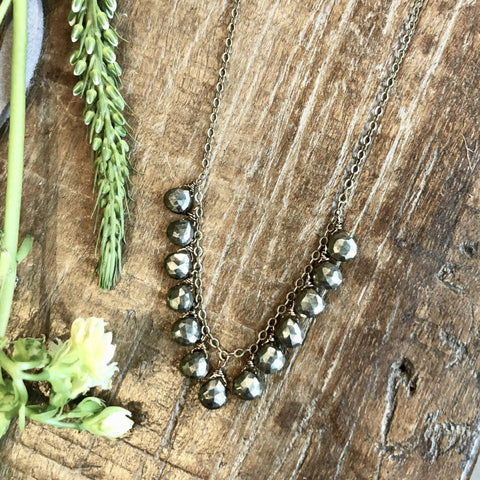 5 Layer Labradorite And Gray Crystal Necklace - NHN57