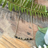 Black With Brass Small Stream Necklace