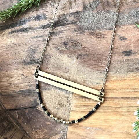 Long Hexagon & Labradorite Necklace - JHN88