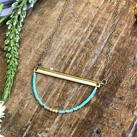 2 Brass Bars With Turquoise Necklace - JHN83