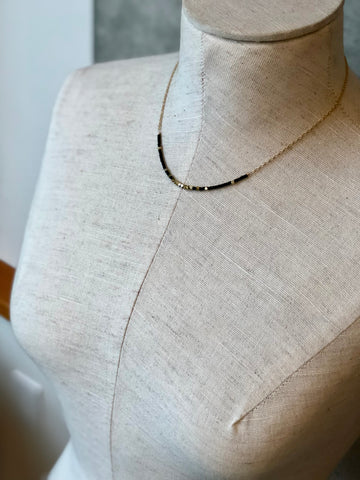 Black With Brass Stream Necklace - JHN77