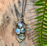 handmade Long hexagon pendant with labradorite cascade on a 16-18