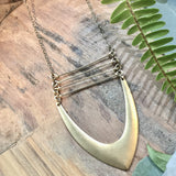 Brass Bars With V Necklace