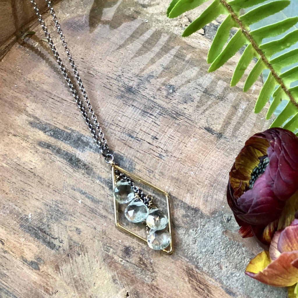 "handmade Long diamond pendant with green amethyst cascade on a 16-18"" adjustable antiqued necklace"