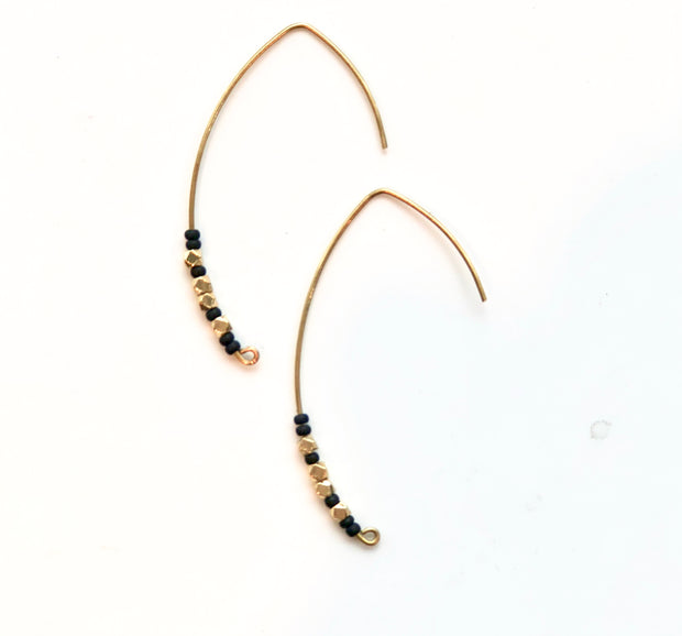 Matte black and brass beads on brass earwires