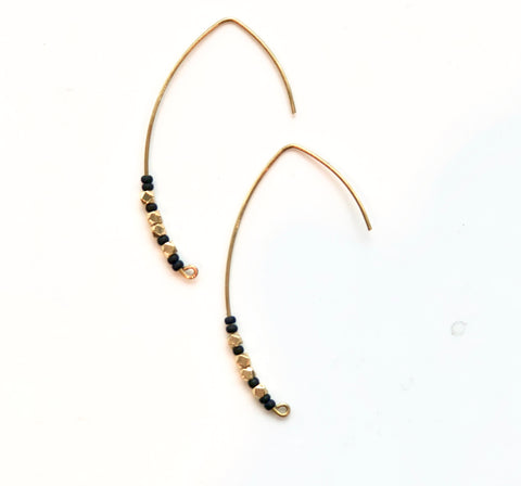 Black & Brass Crescent Wire Brass Earrings - JHE68