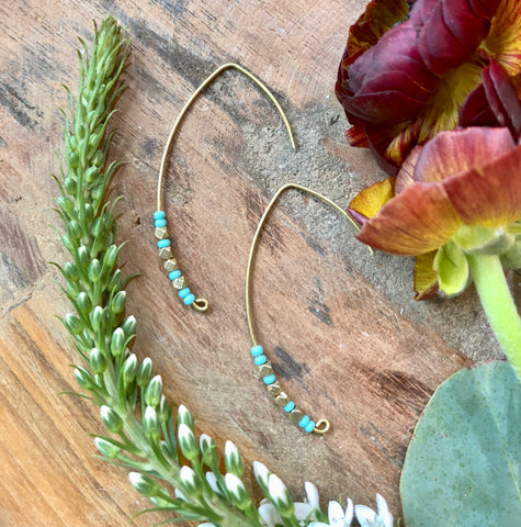 Turquoise & Brass Crescent Wire Earrings - JHE69
