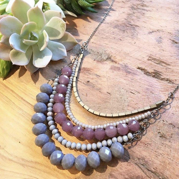 Nora Necklace - Lilac & Gray