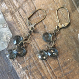 3 Deep Ocean Blue Quartz Cascade Earrings - JHE82