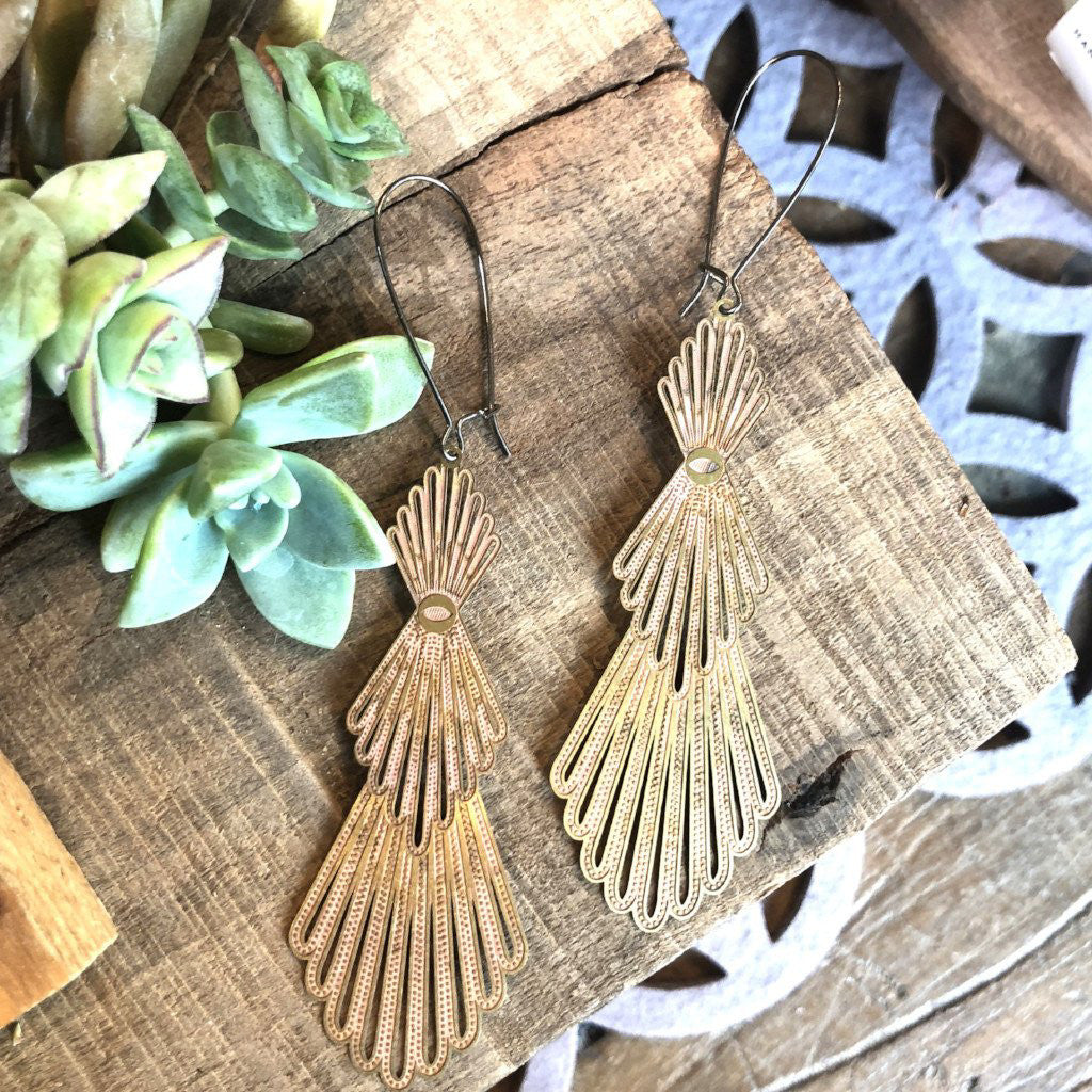 Feathered Brass Earrings