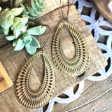 Brass Textured Oval Earrings