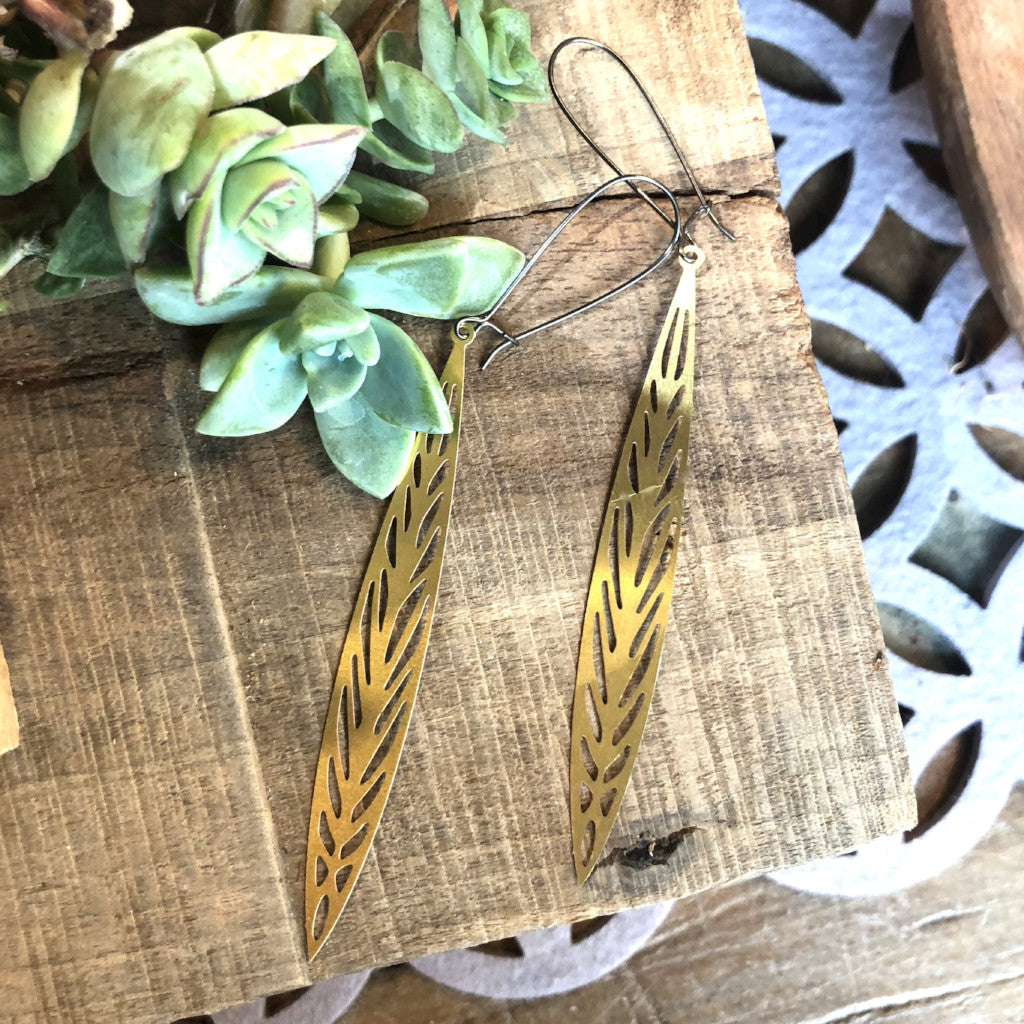 Narrow Oval Cutout Brass Earrings