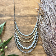 Nora Necklace - Sage & Gray