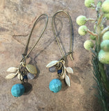 handmade turquoise earrings with gold leaves Harlow jewelry Portland
