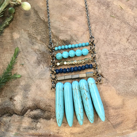 Turquoise Spike Stack Necklace - JHN06