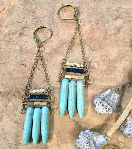 Turquoise Spike Stack Earrings - JHE07