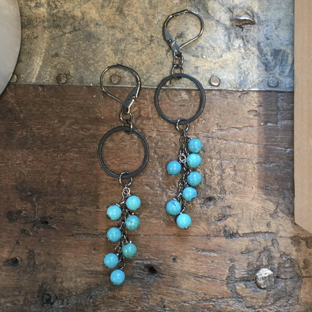 handmade turquoise cascade earrings Harlow jewelry Portland or