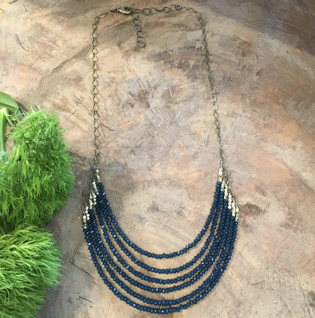 handmade deep blue crystal necklace Harlow jewelry Portland handmade jewelry
