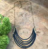 handmade deep blue crystal necklace Harlow jewelry Portland