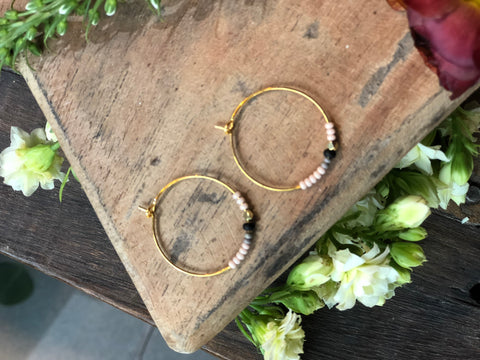 Peach With Black Gold Ring Earrings - JHE74