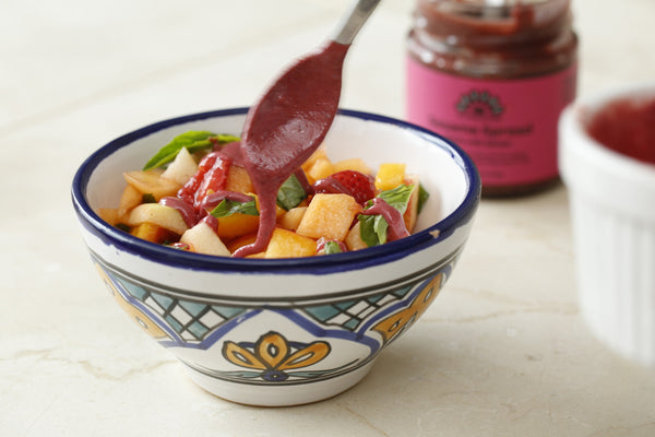Fruit Salad with Beet Tahini Sauce
