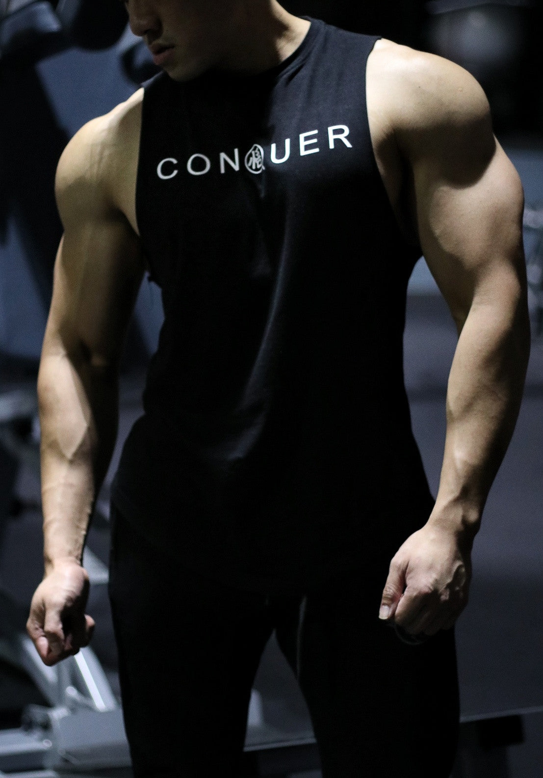 [NEW ARRIVAL] 'CONQUER' Muscle Shirt - Rough Cut - Elite Black