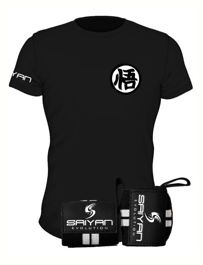 Kaio-Ken Package - Elite Black 'Ascension' Performance T-Shirt w/ Wrist Straps (Save 20%)