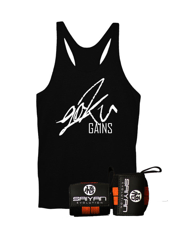 Burst Package - 'Goku Gains' Singlet w/ Wrist Straps - Saiyan Evolution Online Shop Worldwide Shipping