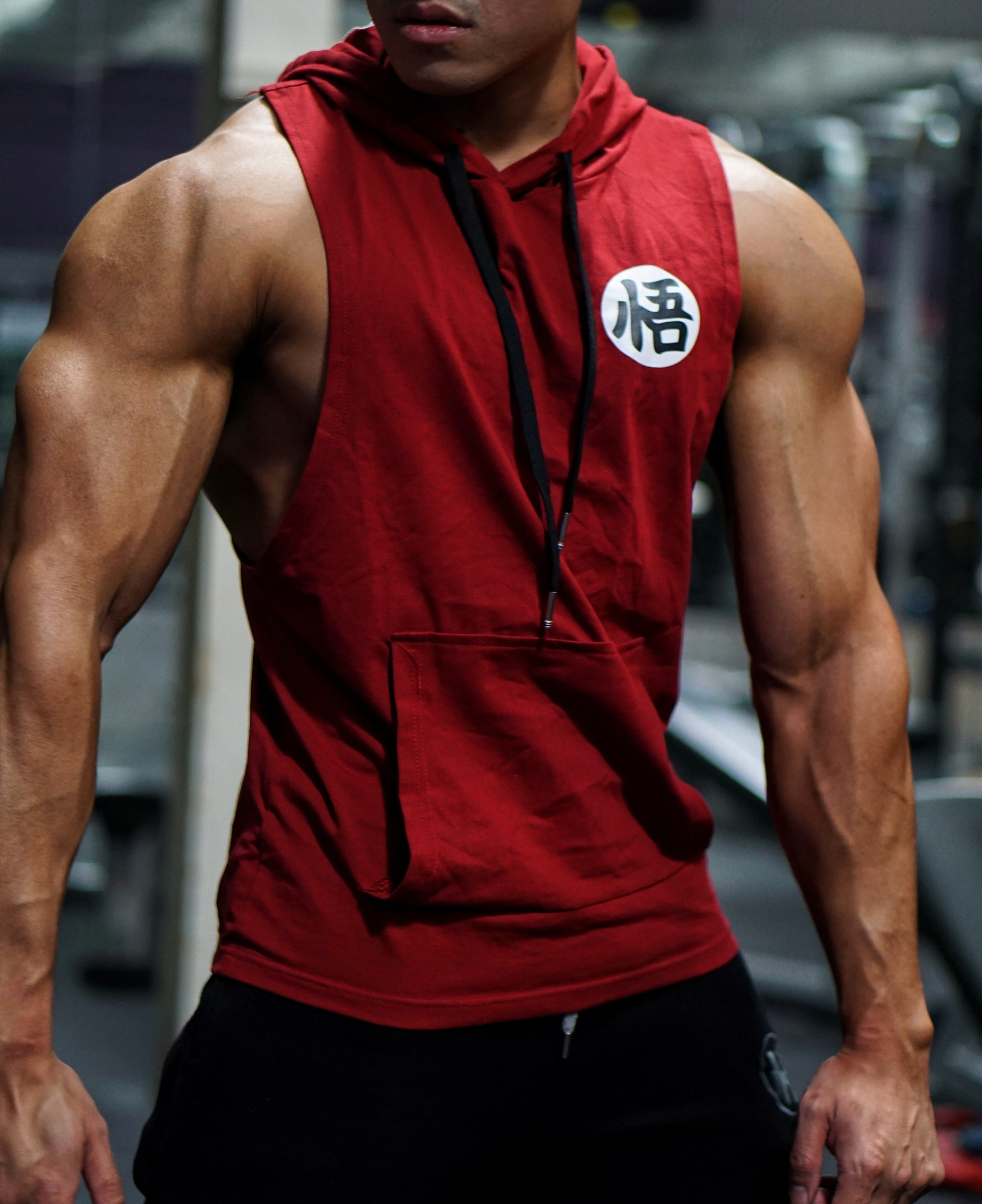 V2.0 Low Cut 'Ascension' Performance Sleeveless Hoodie - Blood Red