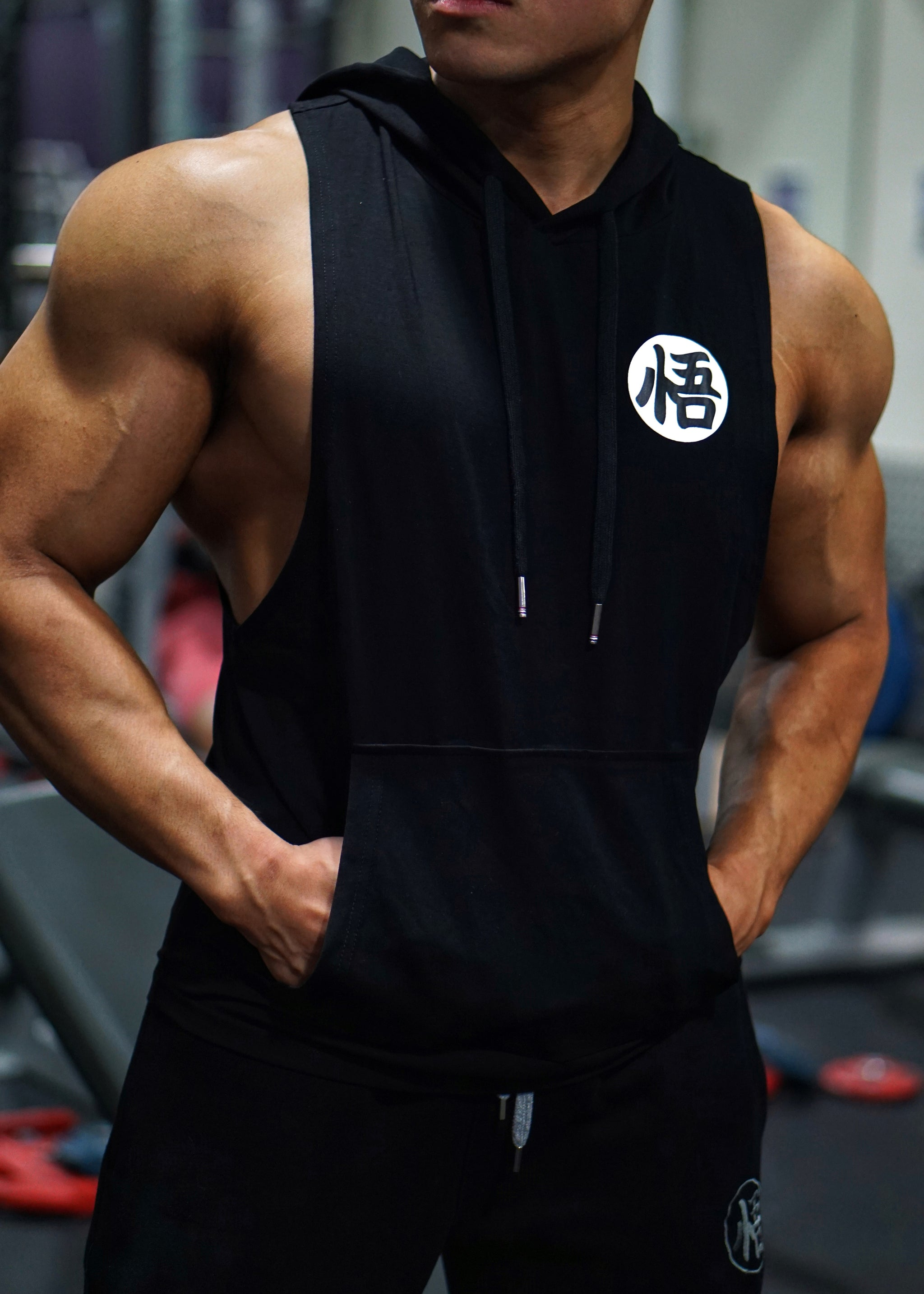 V2.0 Low Cut 'Ascension' Performance Sleeveless Hoodie - Elite Black