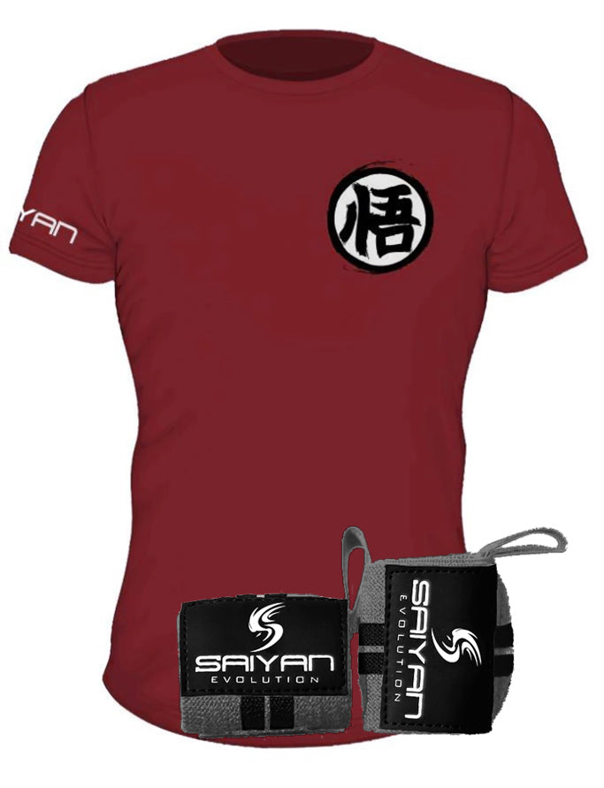 Rage Package - Blood Red V2 'Ascension' Performance T-Shirt w/ Dark Grey/Black Wrist Straps (Save 20%)