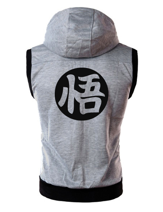 A.C.E SLEEVELESS ZIP HOODIE - FITTED - GREY - Saiyan Evolution Online Shop Worldwide Shipping - 2