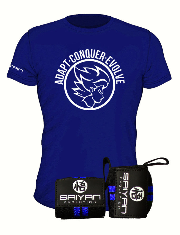 Blue Blitz Package - Royal Blue A.C.E Performance T-Shirt w/ Wrist Straps (Save 15%) - Saiyan Evolution Online Shop Worldwide Shipping