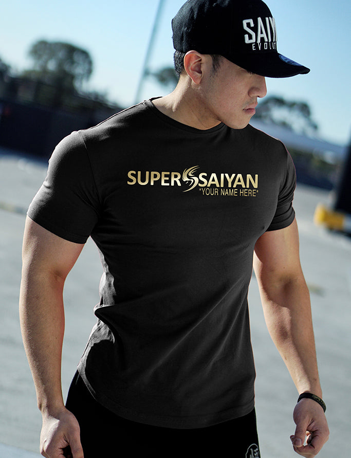 CUSTOM NAME 'SUPER SAIYAN' Performance T-Shirt - Black/Gold