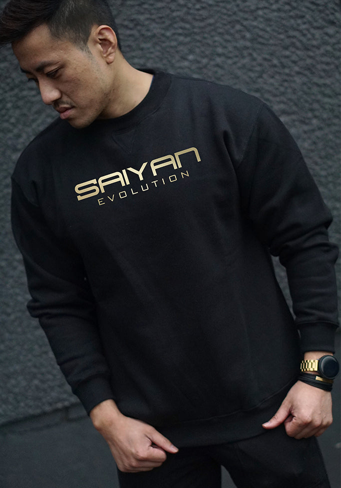 'Saiyan Evolution' Crew Neck Sweatshirt Black/Gold