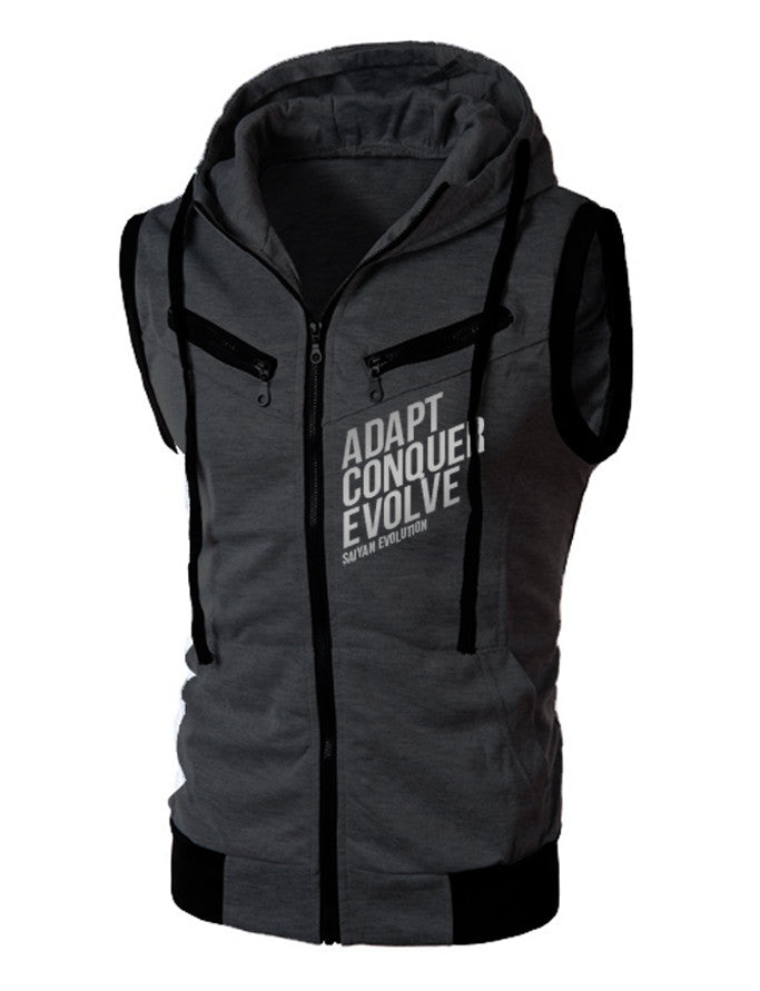 A.C.E SLEEVELESS ZIP HOODIE - FITTED - DARK GREY - Saiyan Evolution Online Shop Worldwide Shipping - 1