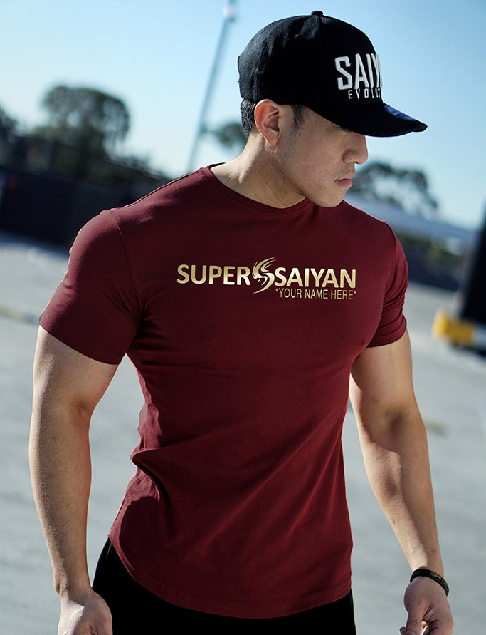 CUSTOM NAME 'SUPER SAIYAN' Performance T-Shirt - Dark Red/Gold