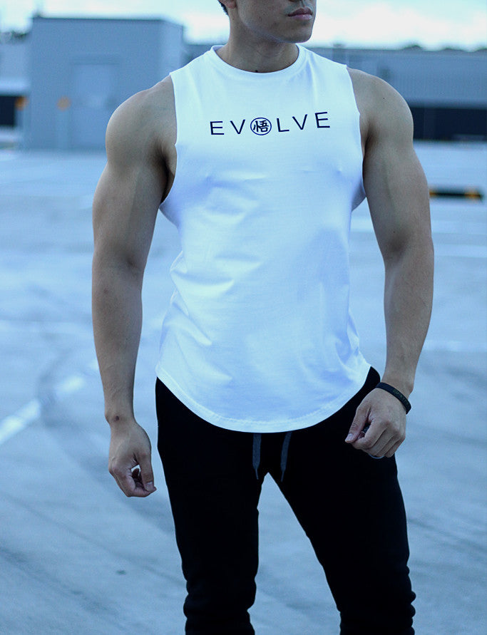 [NEW ARRIVAL] 'EVOLVE' Muscle Shirt - Rough Cut - White